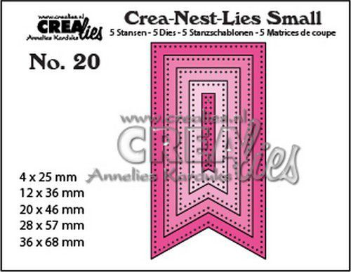 Crealies - Die - Crea-Nest-Lies Small - Fishtail banner with dots - CNLS20