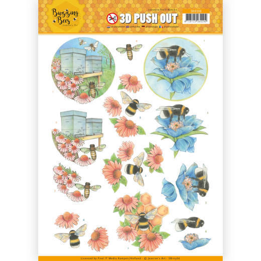 Jeanine`s Art - (3D-)Stansvel A4 - Buzzing Bees - Working Bees - SB10366