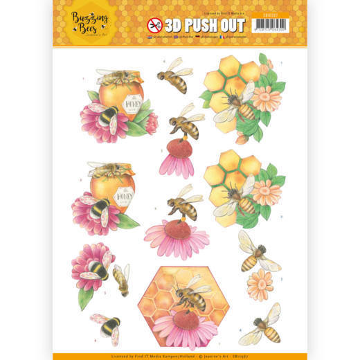 Jeanine`s Art - (3D-)Stansvel A4 - Buzzing Bees - Honey Bees - SB10367