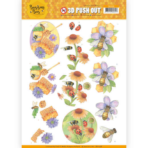 Jeanine`s Art - (3D-)Stansvel A4 - Buzzing Bees - Sweet Bees - SB10368