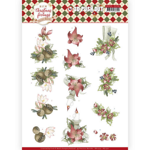 Precious Marieke - Uitdrukvel A4 - Warm Christmas Feelings - Red Center Pieces - SB10374