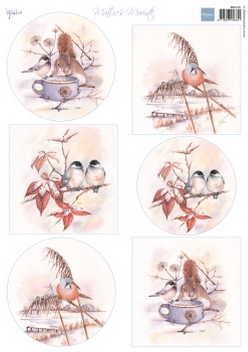 Marianne Design - Mattie - 3D-knipvel A4 - Mattie`s mooiste - Winter Birds - MB0181
