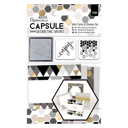 Papermania - Mini cards & stamps set- Capsule Collection - Mono - PMA105304