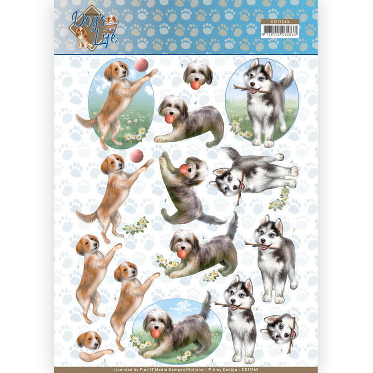 Amy Design - 3D-knipvel A4 - Dog`s Life - Playing Dogs - CD11365