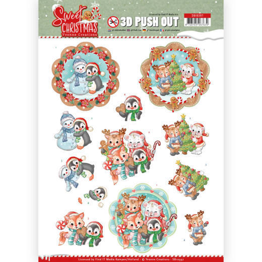 Yvonne Creations - Uitdrukvel A4 - Sweet Christmas - Sweet Winter Animals - SB10397