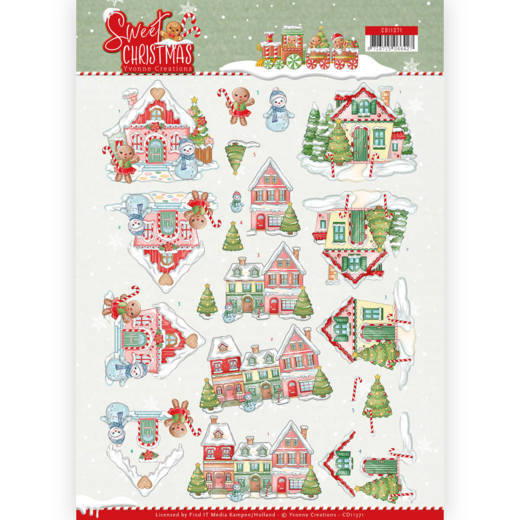 Yvonne Creations - 3D-knipvel A4 - Sweet Christmas - Sweet Houses - CD11371