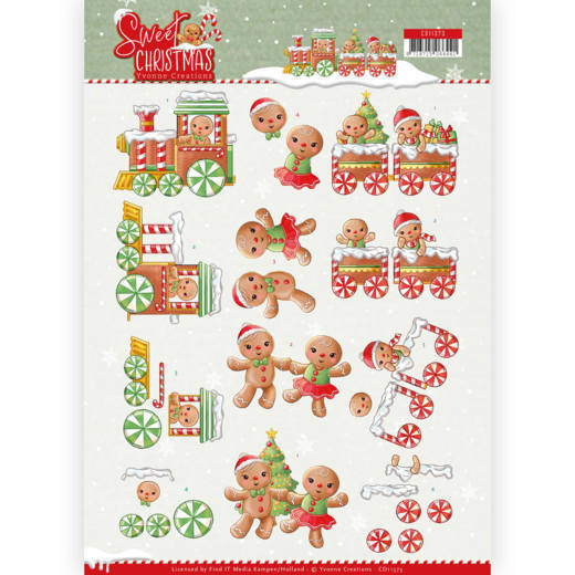Yvonne Creations - 3D-knipvel A4 - Sweet Christmas - Sweet Cookies - CD11373