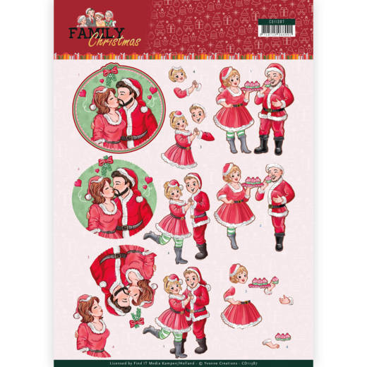 Yvonne Creations - 3D-knipvel A4 - Family Christmas - Loving Christmas - CD11387