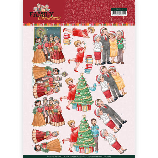 Yvonne Creations - 3D-knipvel A4 - Family Christmas - Celebrate Christmas - CD11389