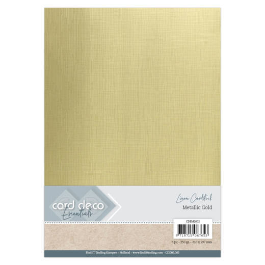 Card Deco - LinnenArt - A4: Metallic Gold - CDEML002