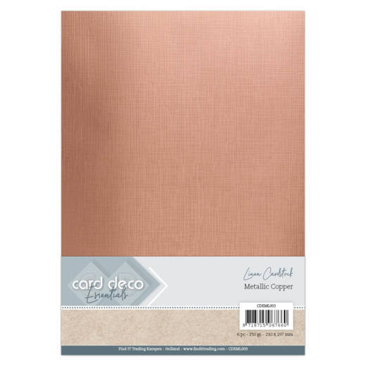 Card Deco - LinnenArt - A4: Metallic Copper - CDEML003