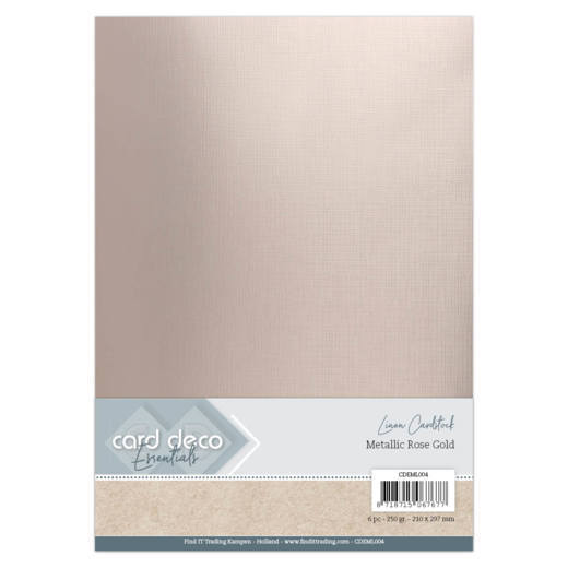 Card Deco - LinnenArt - A4: Metallic Rose Gold - CDEML004