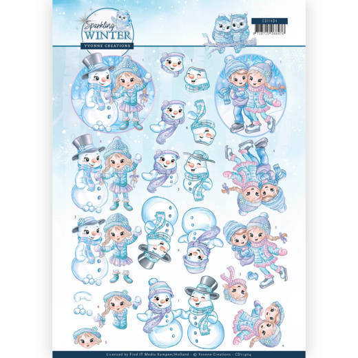 Yvonne Creations - 3D-knipvel A4 - Sparkling Winter - Winterfun - CD11404