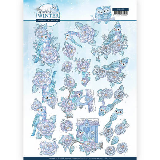 Yvonne Creations - 3D-knipvel A4 - Sparkling Winter - Winter bird - CD11403