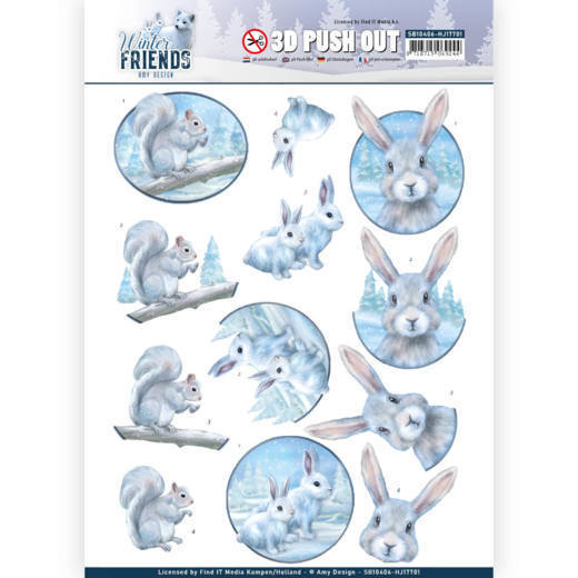 Amy Design - Uitdrukvel A4 - Winter Friends - Arctic Friends - SB10406