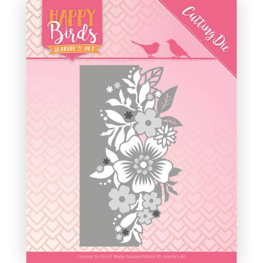 Jeanine`s Art - Die - Happy Birds - Flower Edge - JAD10085