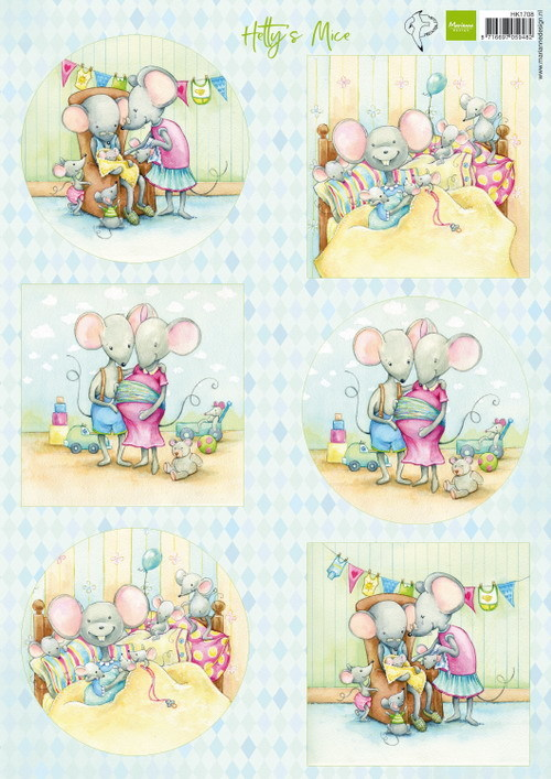 Marianne Design - Hetty Meeuwsen - 3D-knipvel A4 - Hetty`s Mice New Born - HT1708