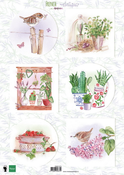 Marianne Design - Els Wezenbeek - 3D-knipvel A4 - French Antiques Herbs - EWK1273