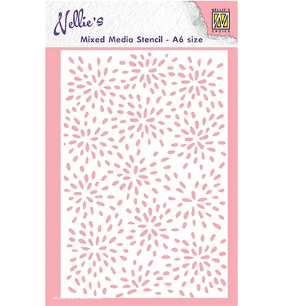 Nellie Snellen - Mixed Media Stencil - A6 - Burts of drops - MMSA6-004