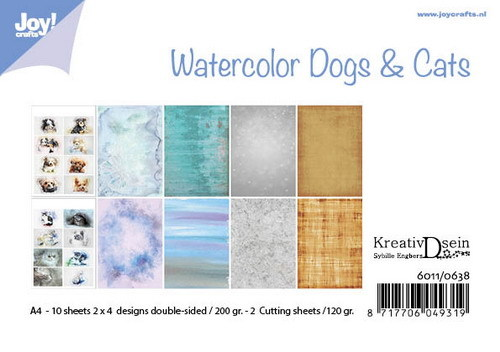 Joy! crafts - 3D-knipvel A4 - Set - Watercolor Dogs & Cats - 6011/0638