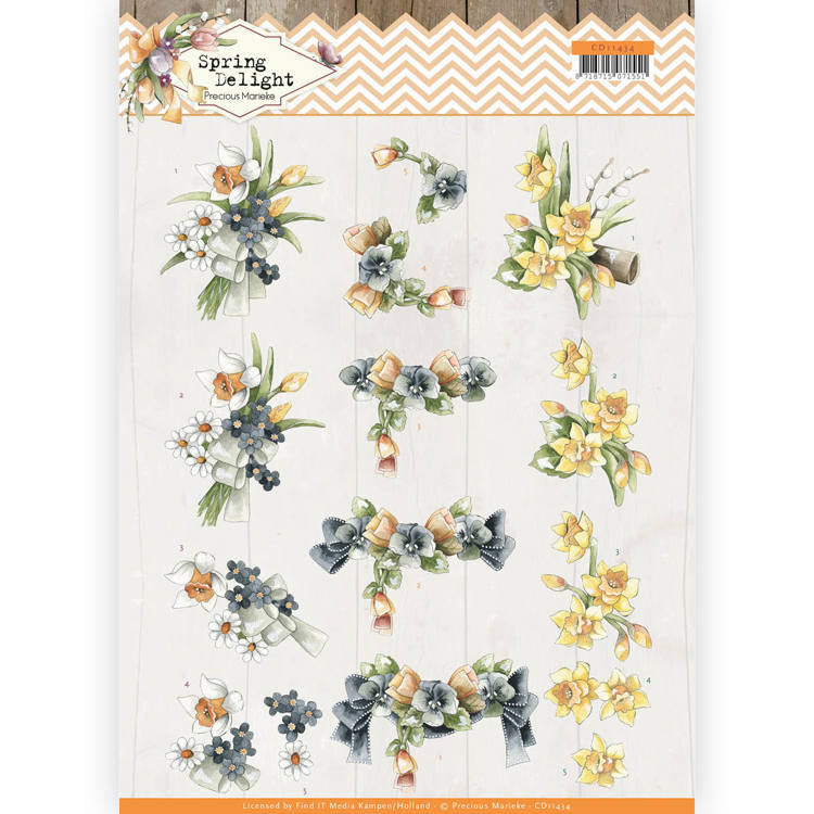 Precious Marieke - 3D-knipvel A4 - Spring Delight - Violets and Daffodils - CD11434