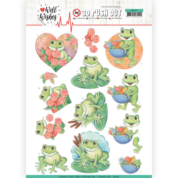 Jeanine`s Art - Uitdrukvel A4 - Well Wishes - Frogs - SB10426