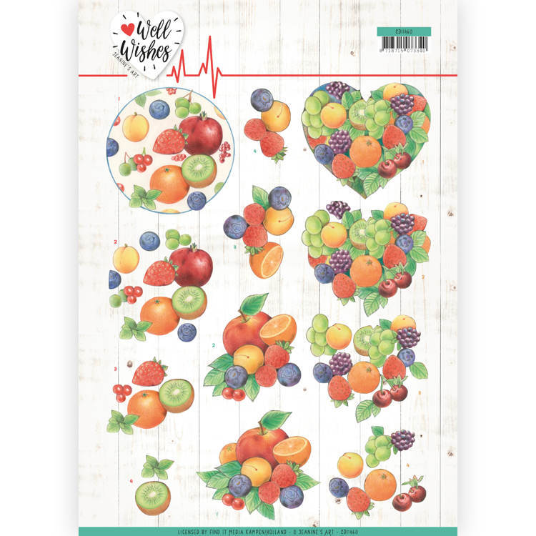 Jeanine`s Art - 3D-knipvel A4 - Well Wishes - Fruits - CD11460