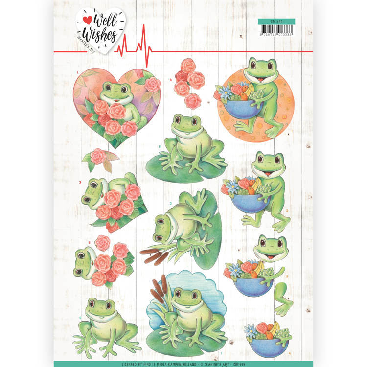 Jeanine`s Art - 3D-knipvel A4 - Well Wishes - Frogs - CD11459