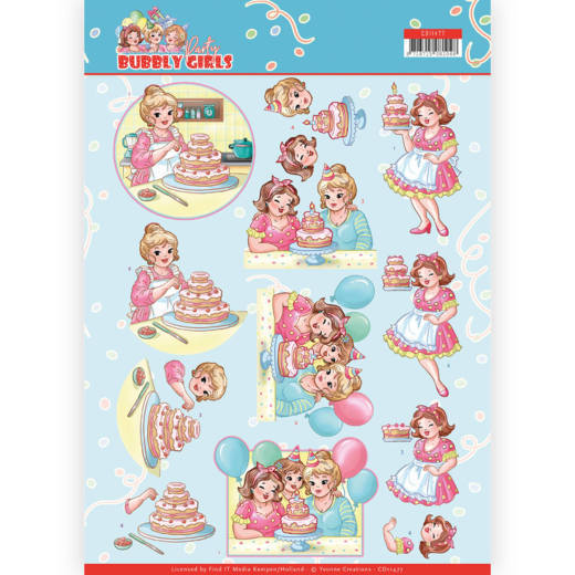 Yvonne Creations - 3D-knipvel A4 - Bubbly Girls - Party - Baking - CD11477