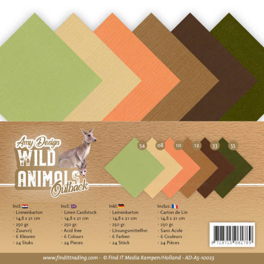 Amy Design - Linnenpakket - 148 x 210mm (A5) - Wild Animals Outback - AD-A5-10023