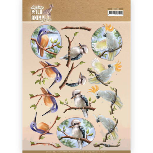 Amy Design - 3D-knipvel A4 - Wild Animals Outback - Parrot - CD11486