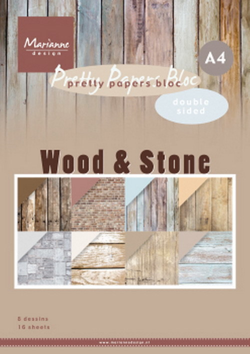 Marianne Design - Paperpack - A4 - Pretty Papers - Wood & Stone - PK9170