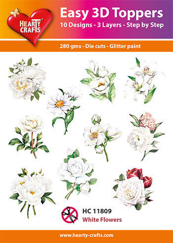 Hearty Crafts - Easy 3D Toppers - White Flowers - HC11809
