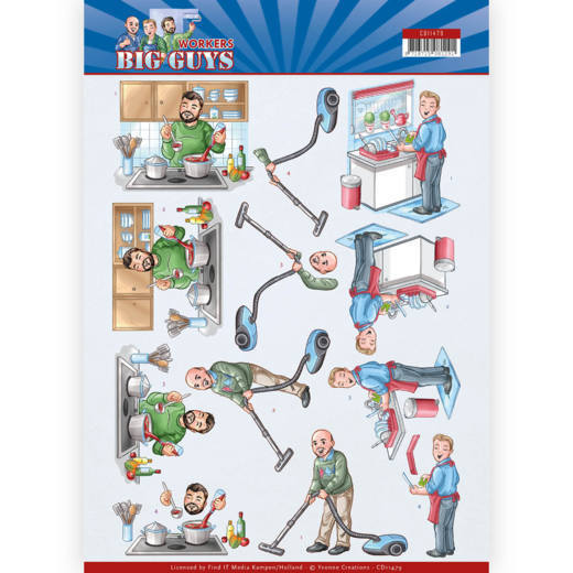 Yvonne Creations - 3D-knipvel A4 - Big Guys - Workers - Big Cleaning - CD11479
