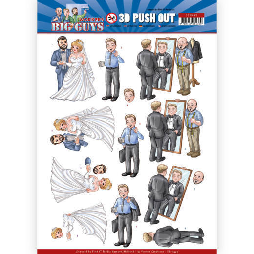Yvonne Creations - (3D-)Stansvel A4 - Big Guys - Workers - Well Dressed - SB10449