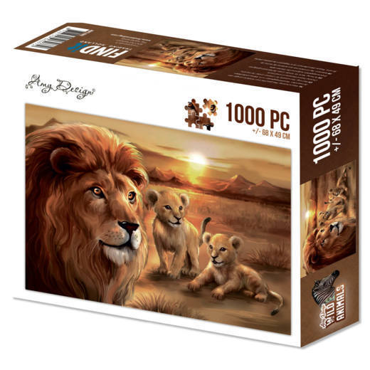 Amy Design - Legpuzzel - Wild Animals - Lion with cubs - ADPZ1002