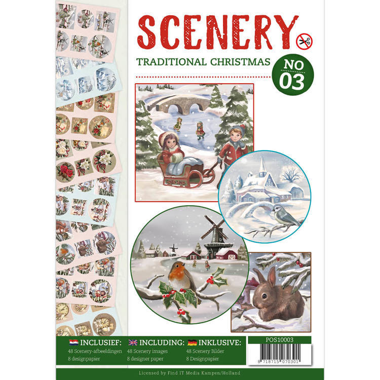 Card Deco - (3D-)Stansvellen - Boek - Scenery - Traditional Christmas - POS10003