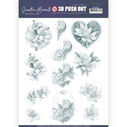 Jeanine`s Art - Uitdrukvel A4 - Sensitive Moments - Grey Rose - SB10467