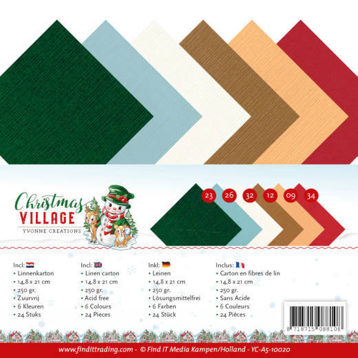 Yvonne Creations - Linnenpakket - 148 x 210mm (A5) - Christmas Village - YC-A5-10020