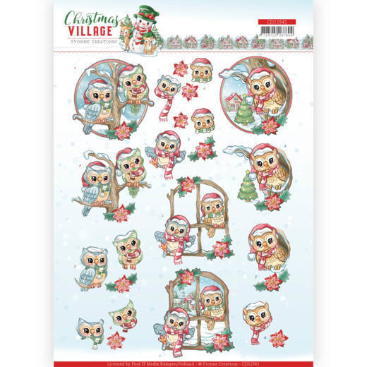 Yvonne Creations - 3D-knipvel A4 - Christmas Village - Christmas Owls - CD11541