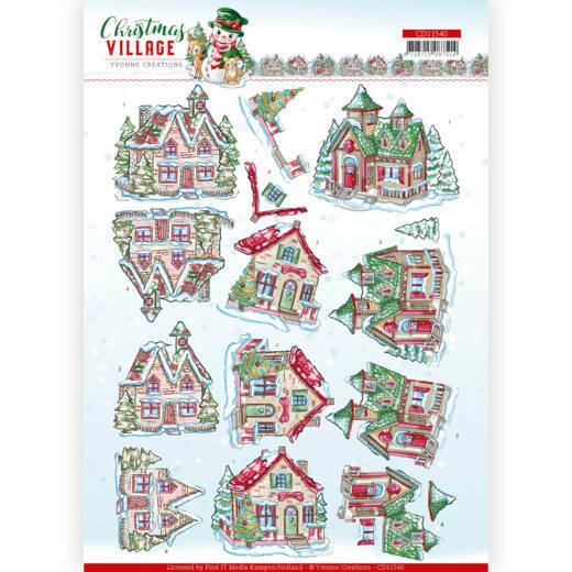 Yvonne Creations - 3D-knipvel A4 - Christmas Village - Christmas Houses - CD11540
