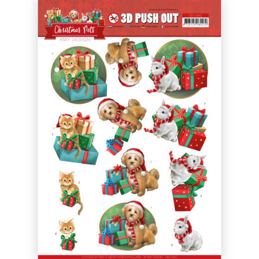 Amy Design - Uitdrukvel A4 - Christmas Pets - Presents - SB10462