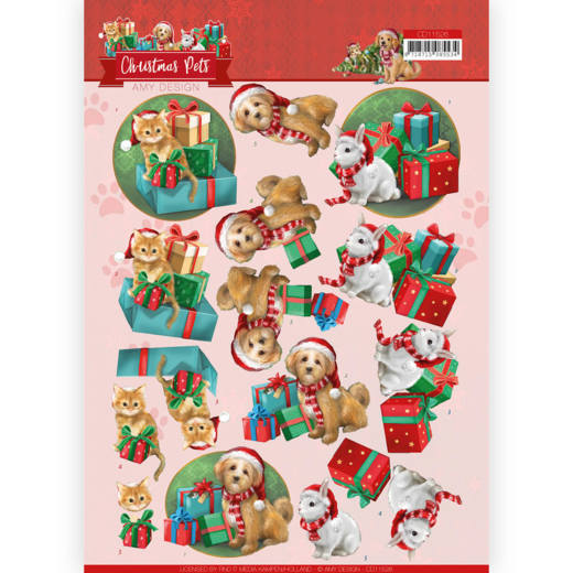 Amy Design - 3D-knipvel A4 - Christmas Pets - Christmas Presents - CD11526