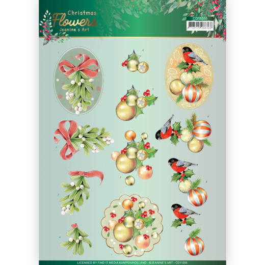 Jeanine`s Art - 3D-knipvel A4 - Christmas Flowers - Mistle Toe - CD11555