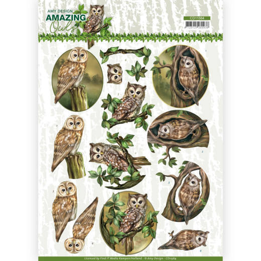 Amy Design - 3D-knipvel A4 - Amazing Owls - Forest Owls - CD11564