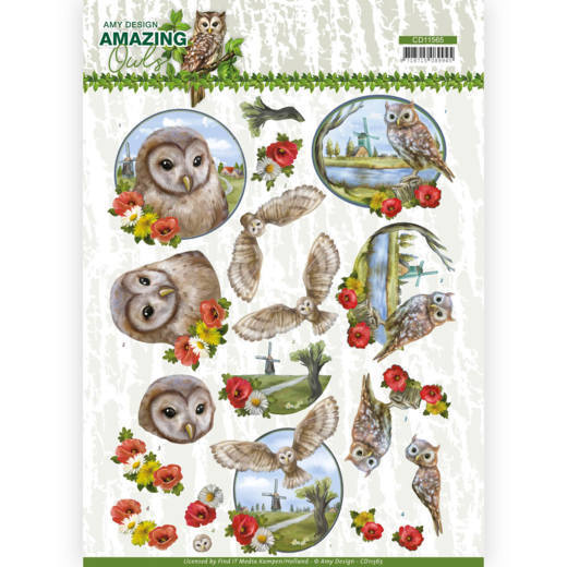 Amy Design - 3D-knipvel A4 - Amazing Owls - Meadow Owls - CD11565