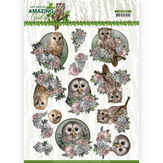 Amy Design - 3D-knipvel A4 - Amazing Owls - Romantic Owls - CD11566