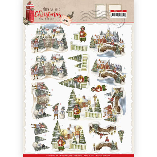 Amy Design - 3D-knipvel A4 - Nostalgic Christmas - Christmas Village - CD11559