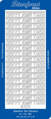 Starform - Stickervel - Feestdagen - Tekst - Happy New Year: Zilver - 365