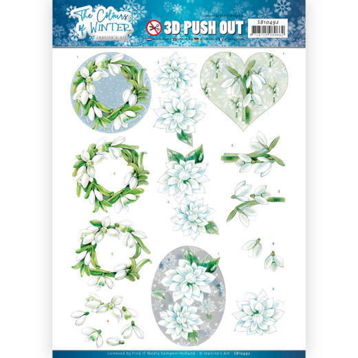 Jeanine`s Art - Uitdrukvel A4 - The colours of winter - White winter flowers - SB10492